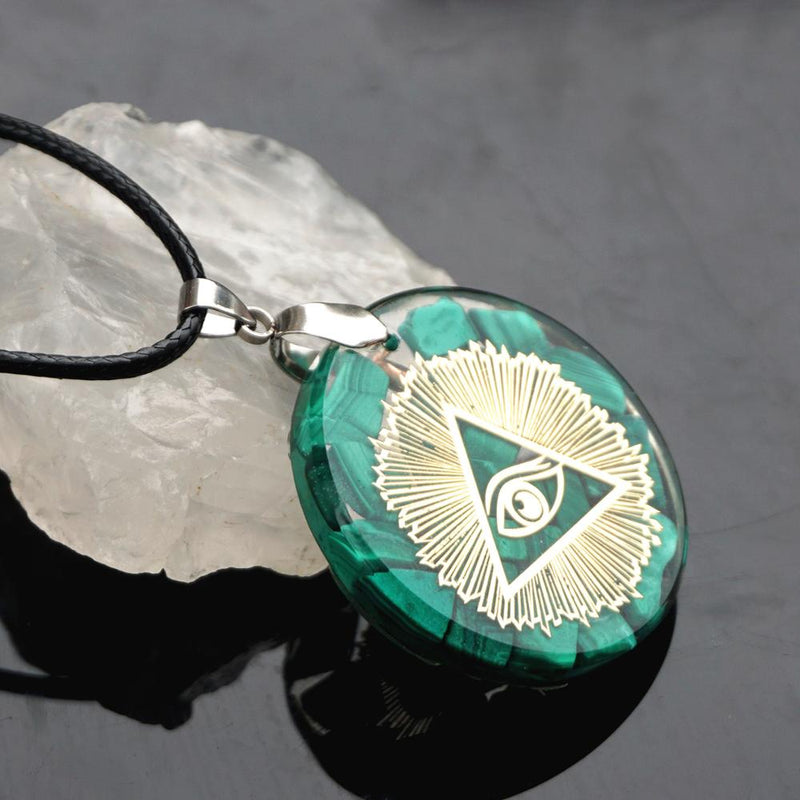 Orgone Pendant Necklace Malachite Natural Crystal Reiki Symbol EMF Protection Reiki Symbol Meditation Crystal Healing Jewelry