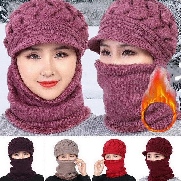 Wool Knitted Fleece Winter Hat With Mouth Cover