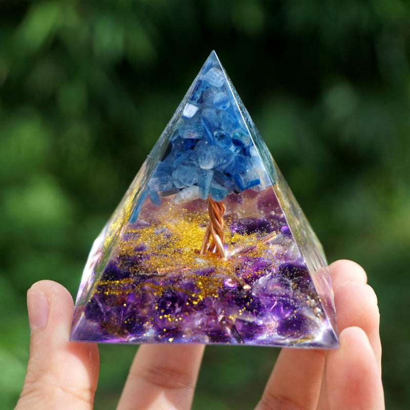 Tree of Life Orgonite Pyramid Amethyst Crystal with Kyanite Stone Healing Orgone Collection Energy Chakra Reiki EMF Protection