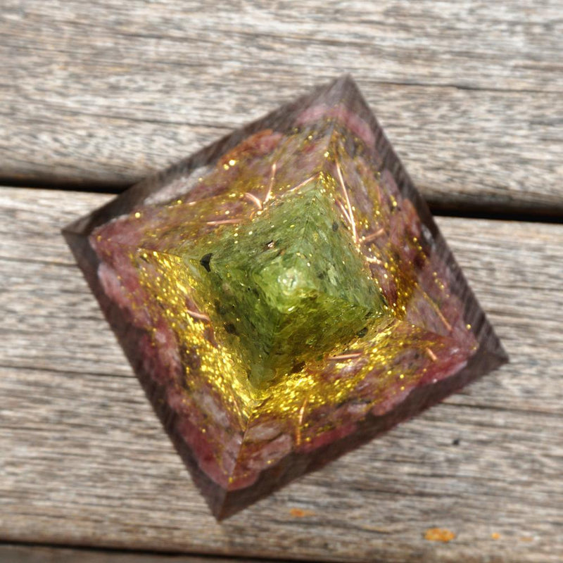 HANDMADE 60MM Tree of Life Orgone Pyramid Peridot & Strawberry Quartz,Orgone Accumulator, EMF Orgonite Energy Chakra Reiki