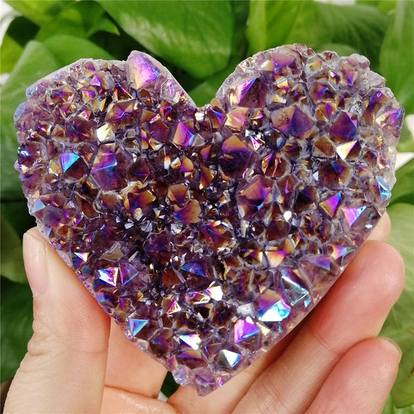 1PCS Natural heart-shaped Raw Amethyst Quartz Crystal Cluster Healing Specimen Rainbow Aura Quality Gemstone Stone Home Decor