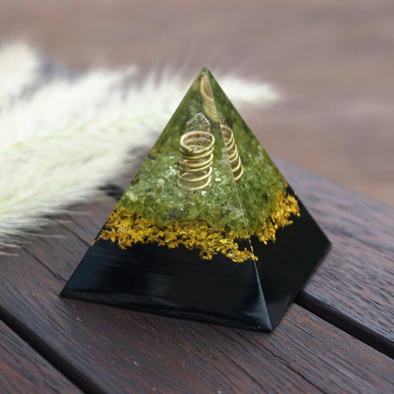 Rose Quartz Pillar Orgonite Pyramid with Shungite Peridot Crystal Reiki Energy Gemstone Powerful Orgone Pyramide Collection