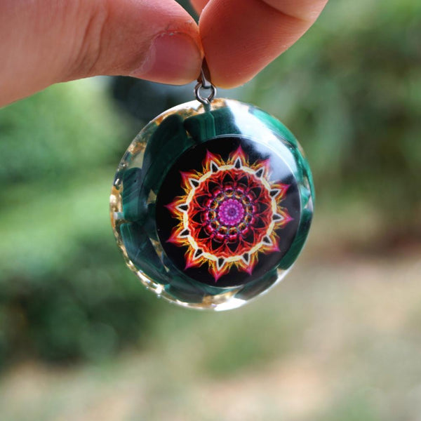 Handmade Orgone Pendant ~Malachite Natural Crystal Flower Of Life EMF Protection Reiki Healing Orgonite Necklace Jewelry