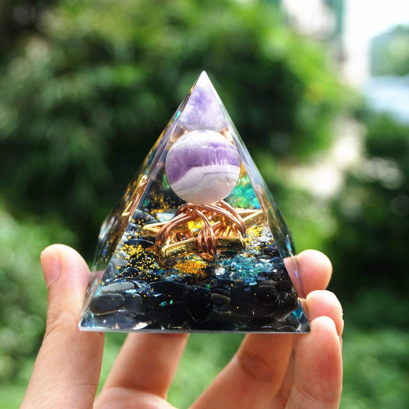 Star Style Orgonite Pyramid Amethyst Sphere With Obsidian Crystal Quartz Reiki Healing Energy Orgone Pyramide EMF Protection