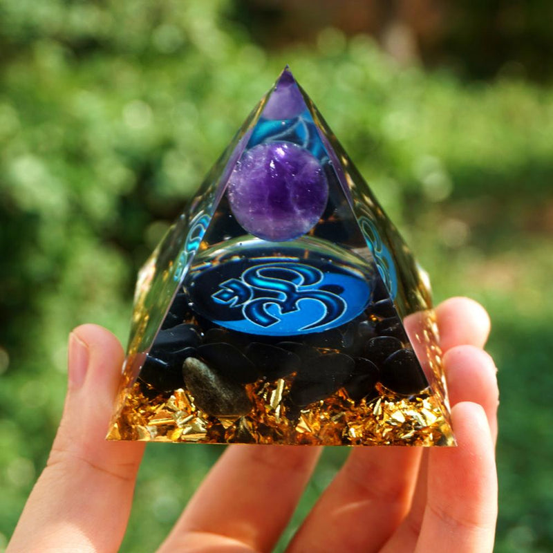 Amethyst Crystal Sphere Orgonite Pyramid with Obsidian Stone Energy Healing Orgone Collection EMF Protection Meditation Tool