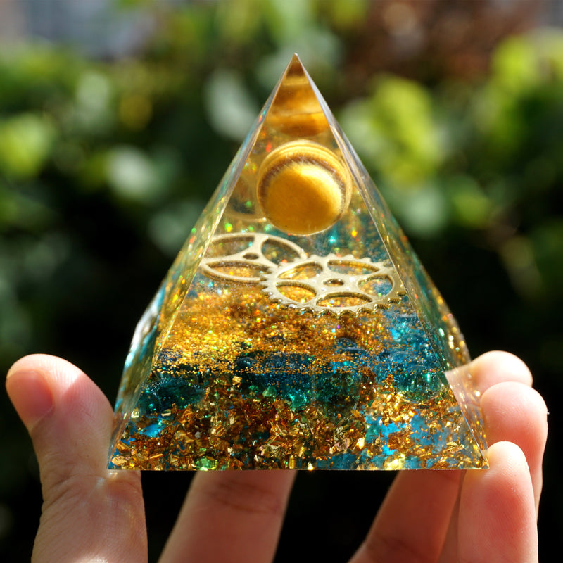 Orgonite Pyramid Tiger Eye Sphere With Blue Quartz Gear Wheel EMF Protection Orgone Pyramid Crystal Healing Reiki Meditation