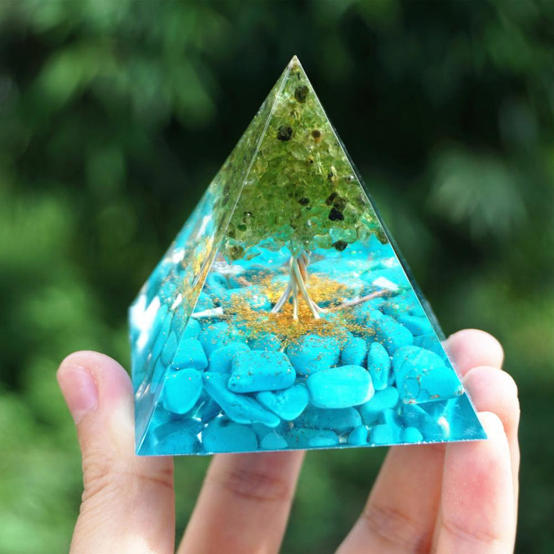 Tree of Life Peridot Orgonite Pyramid 60mm with Turquoise Gemstone Reiki Energy Tree Orgone Pyramide Collection EMF Protection