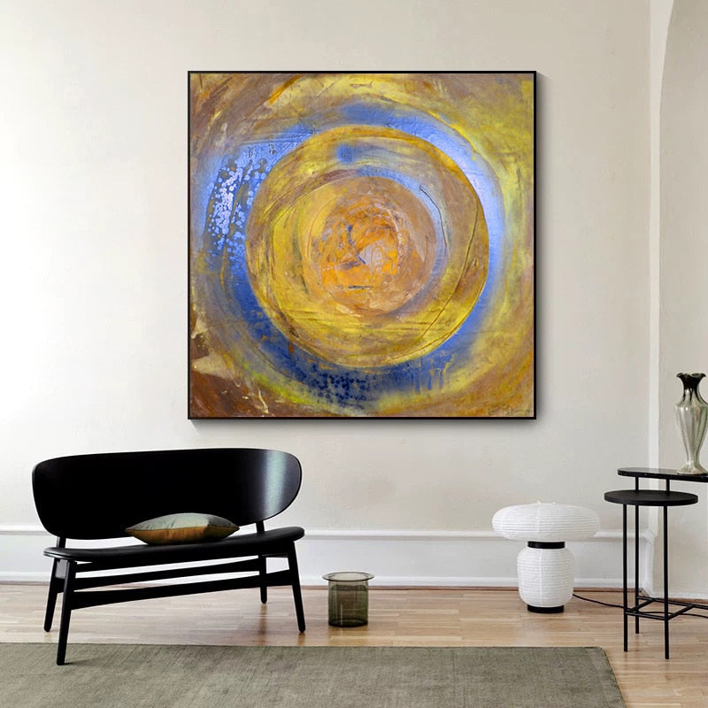 Abstract Blue Gold Round Canvas Painting Modern Posters and Prints Cuadros Wall Art Pictures for Living Room Home Decor Unframed