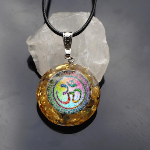 Handmade Orgonite Pendant Moonstone Natural Crystal Energy Chakra EMF Protection Orgone Healing Jewelry