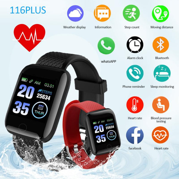 IP67 Smart Watch Track Movement, Waterproof, Heart Rate Monitor, Blood Pressure Monitoring