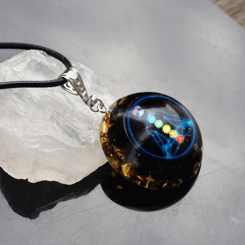 Handmade Orgonite Pendant Obsidian Natural Crystal Energy Chakra Jewelry EMF Protection Orgone Healing Against Negativity