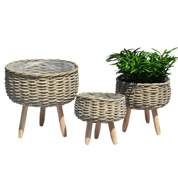 Nordic hand made creative rattan woven straw flowerpot Flower basket Furniture balcony living room accessories plant pot tray