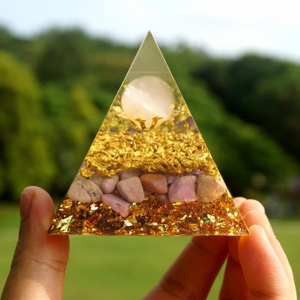 Powerful Orgonite Pyramid Rose Quartz Sphere with Lepidolite Crystal Gemstone Copper Shavings EMF Protection Orgone Pyramide