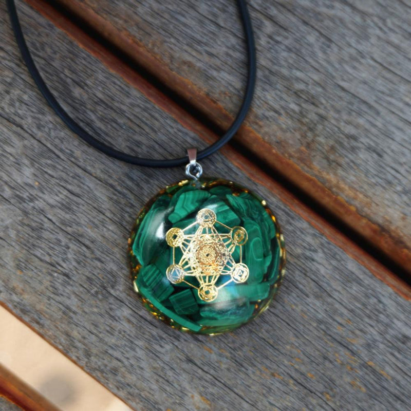 Orgone Pendant Necklace Malachite Green Natural Crystal Stone Reiki Orgonite Energy EMF Protection Jewelry