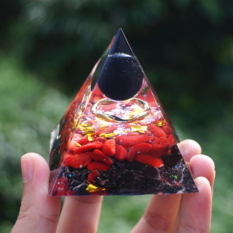 Orgonite Pyramid Obsidian Crystal Sphere With Red coral Obsidian Crystal Quartz Orgone Reiki Healing Energy Healing Crystal