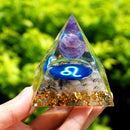 LEO Zodiac Style Orgone Pyramid Amethyst Sphere with Black Rutilated Crystal Gemstone Orgonite EMF Protection Pyramide