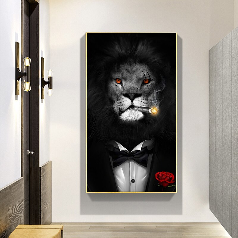 Modern Animal Art Pictures Canvas Printed Painting  Funny Smoking Lion Wall Art Poster for Living Room Home Decor