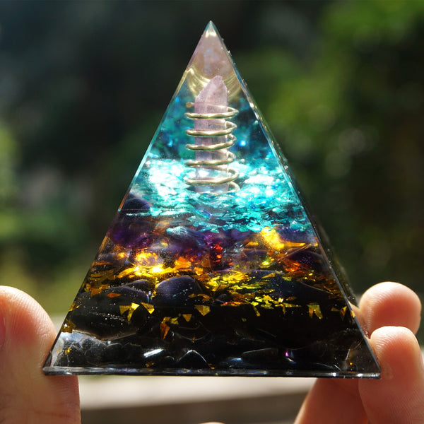 Handmade Orgonite Pyramid Pink Crystal Point In Gold Circle With Amethyst Obsidian Orgone 60mm