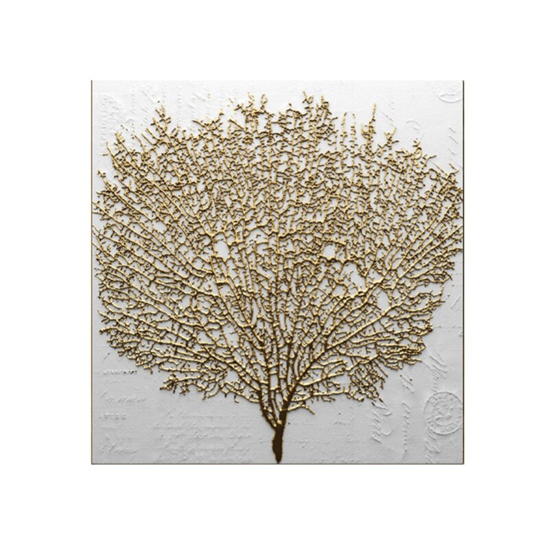 Abstract Golden Tree Canvas Painting Modern Abstract Art Posters and Prints Cuadros Wall Art Pictures for Living Room Home Decor