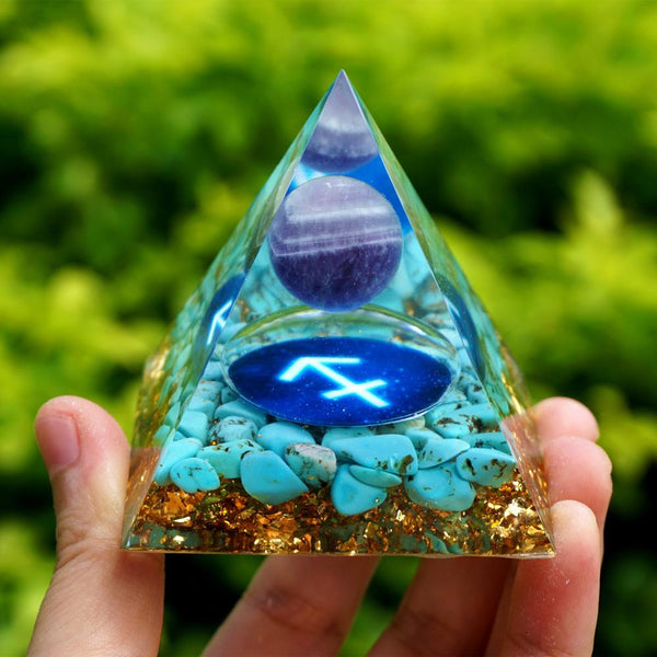 Amethyst Sphere Orgone Pyramid 60mm SAGITTARIUS Geometry Pattern with Turquoise Crystal Stone Zodiac Orgonite EMF Protection
