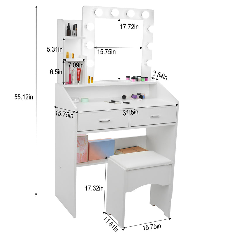 LED Vanity Set With Lighted Mirror Cushioned Stool Dressing Table Makeup Table