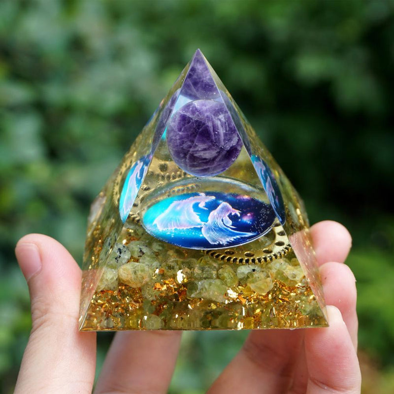 PISCES Orgonite Pyramid Amethyst Sphere&Peridot Natural Crystal Stone Gear Wheel EMF Protection Orgone Pyramid Crystal Healing