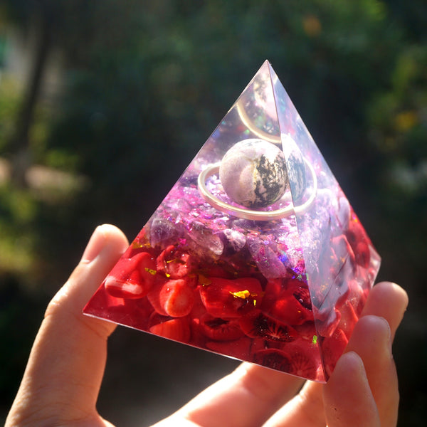 Orgone Pyramid Rhodochrosite Sphere With Amethyst And Red Coral Orgonite Reiki energy Healing Crystal Pyramid