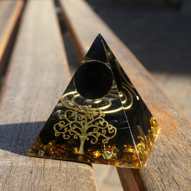70mm Orgonite Pyramid Obsidian Sphere With Obsidian Quartz Stone Orgone Pyramid Reiki Energy Meditation Healing