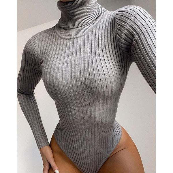 Long Sleeve Turtleneck Bodysuit Women Winter Clothing Ribbed Knitted Skinny Women's Body Gray Black 2020 New Female Outfits