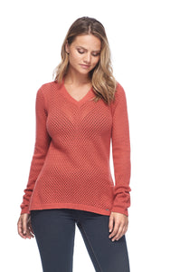 Women's Solid Mesh Stitch V-Neck Sweater
