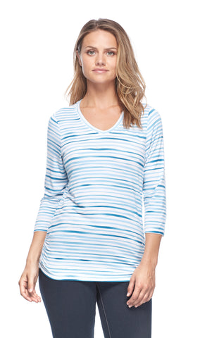 Women's Painted Stripe V-Neck Top