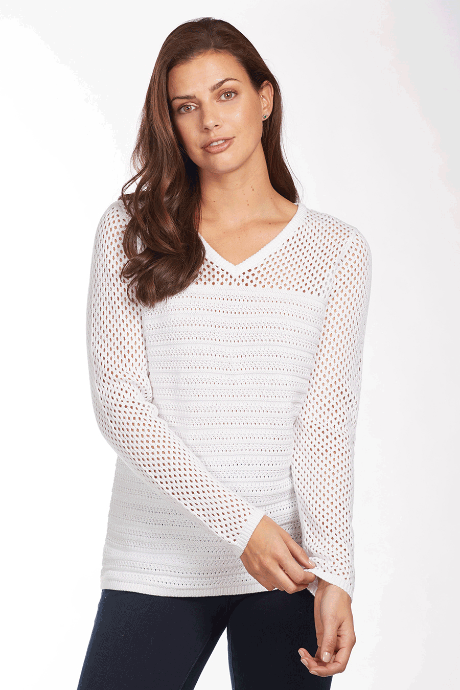 Women's Mesh Stitch V-Neck Sweater