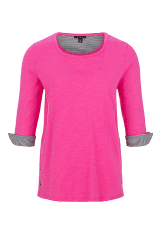 Women's 3/4 Sleeve Crew Neck w/Snaps