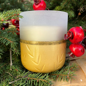 Winter White Small Frosted Glass Candle