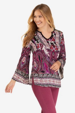 Women's Bell Sleeve Blouse w/Combo Yoke