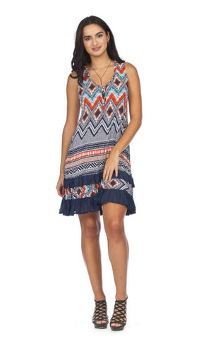 Women's Chevron w/Border Print Dress