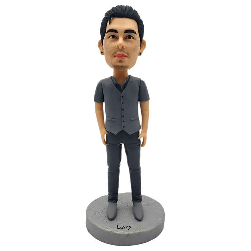 Grey Shirt Man Custom Bobblehead | Customtobox