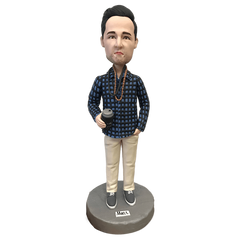 Dark plaid shirt Man Bobblehead | Customtobox