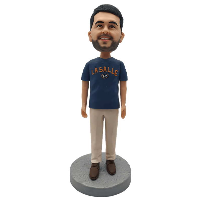 Blue Shirt Man Custom Bobblehead | Customtobox