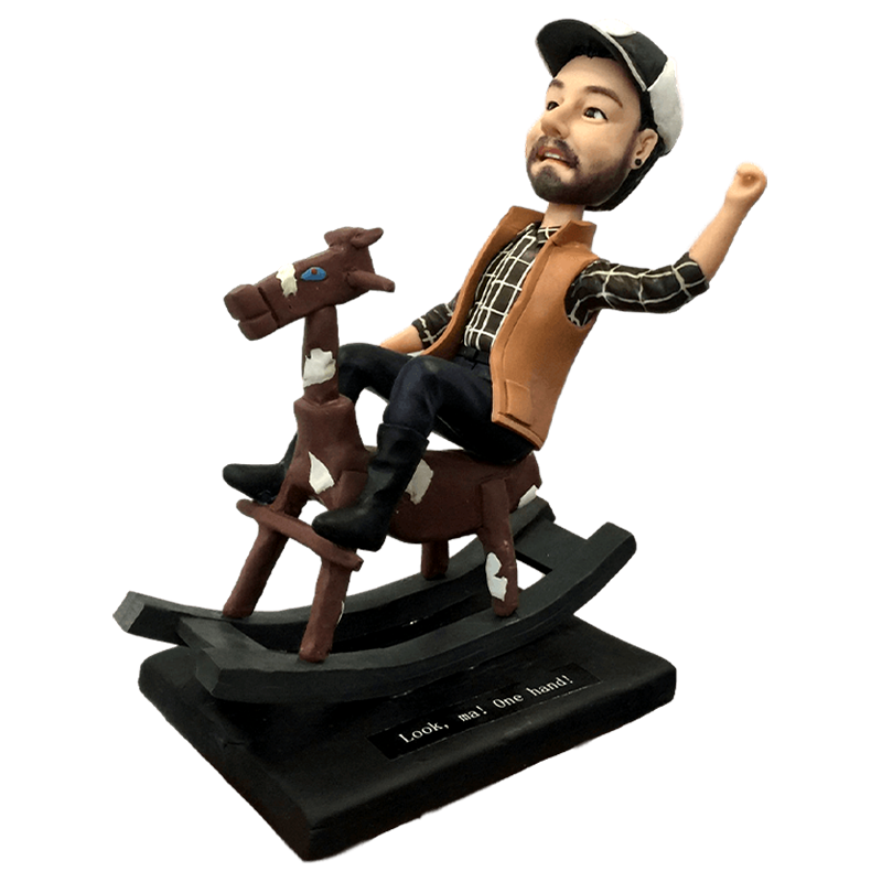 Man Riding A Horse Bobbleheads | Customtobox