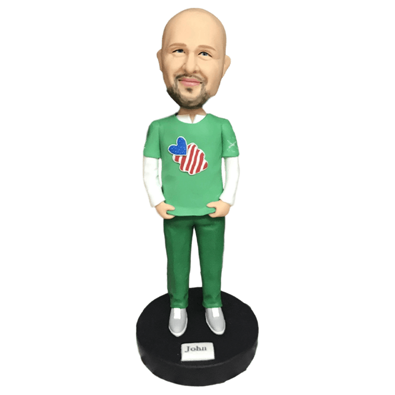 Bald Man In Green T-shirt Bobblehead | Customtobox