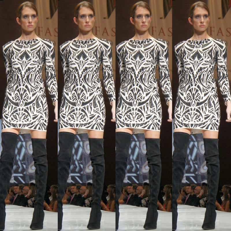 Signature Rubin Singer hand embroidered long sleeve dress
