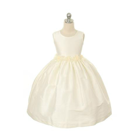 Rosette Dupioni Classic Dress in White