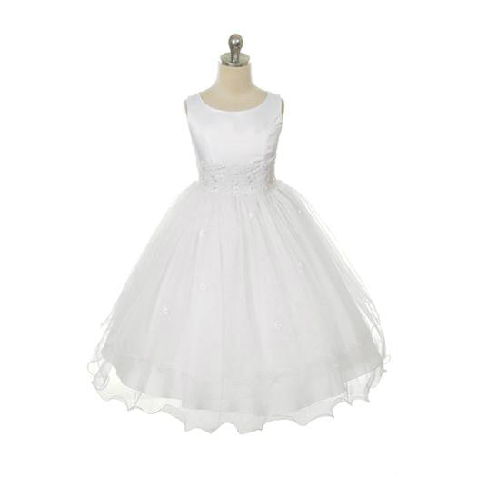White Lace Trim Tulle Dress