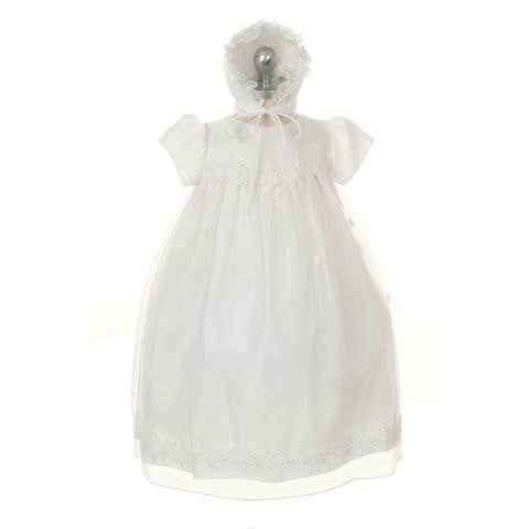 Organza Christening Dress with Satin Roses