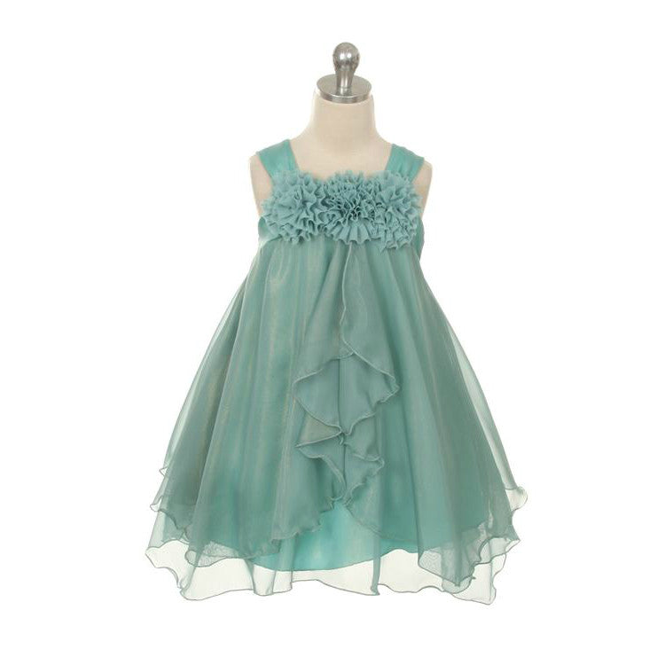 Chiffon Ruffle Dress in Teal