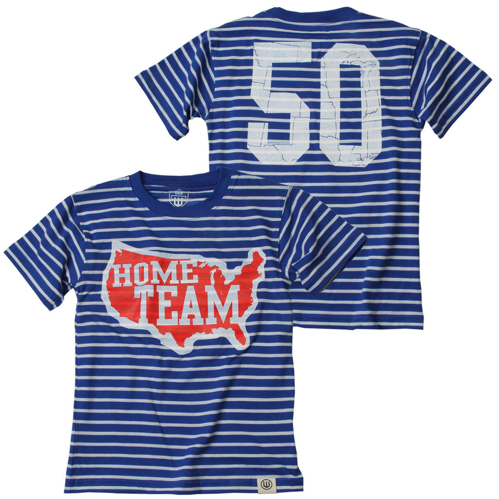 US Map Blue Stripe Tee