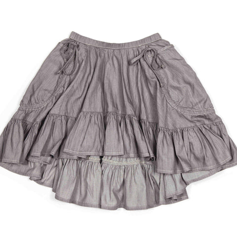 Frilled Drawstring Bustle Skirt in Light Grey
