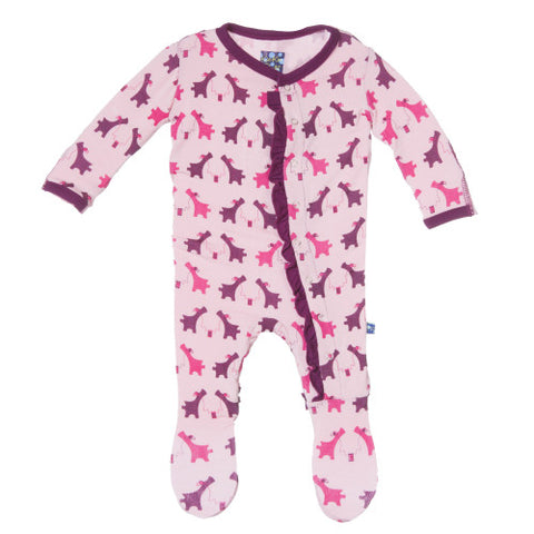 Kickee Pants Lotus Sharing Pups Print Ruffle Footie