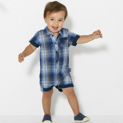 Le Top Plaid Romper with Navy Trim